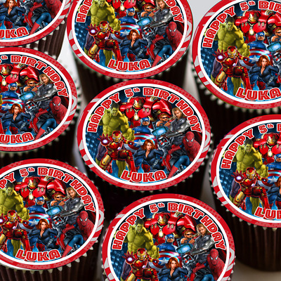 Avengers Assemble Personalised Happy Birthday Cupcake Toppers Rice Paper Cct205