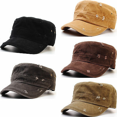 A49 New Vintage Washing Distressed Military Army Cap Cadet Military Hat Truckers