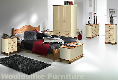 Copenhagen Cream & Pine Painted Bedroom Furniture - All Matching Items Available