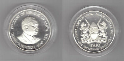 Kenya - Rare Silver Proof 1000 Shillings Coin 1991 Y Km#26 Jubilee Central Bank