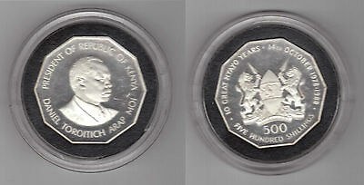 KENYA - RARE SILVER PROOF 500 SHILLINGS COIN 1988 YEAR KM#24 10th ANNI ARAP MOI
