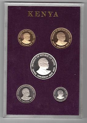 Kenya - Extremely Rare Proof 5 Coins Set: 0,10 - 200 Shillings 1981 Year Cased