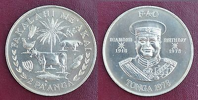 TONGA RARE 2 PAANGA PROOF COIN 1967 YEAR KM#19 CORONATION