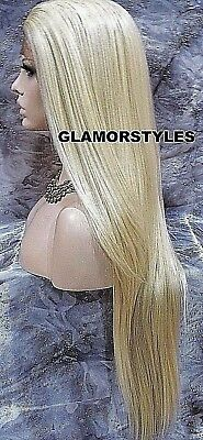 "37"" Long Straight Bleach Blonde Full Lace Front Wig Heat Ok Hair Piece #613 NWT"