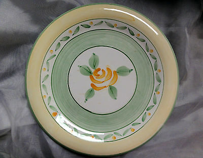 Heritage Mint DINNER PLATE Friendship Rose, Stoneware, Yellow Green Flower