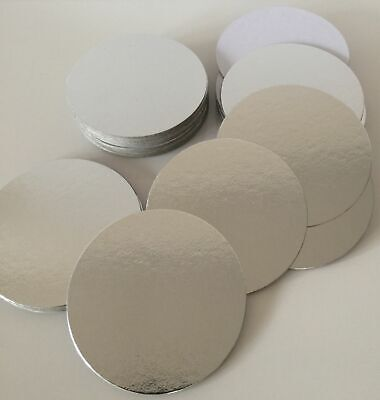 "4"" THIN CAKE CARDS ROUND cut edge boards in SILVER wedding SUPPORT BOGOFF XMAS"