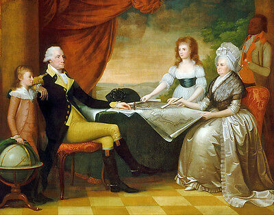 US Revolutionary War Art - President George Washington and Family Canvas Print