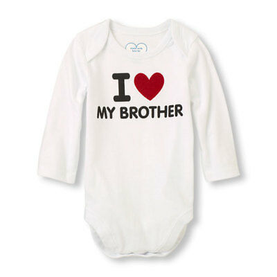 I Love My Brother White Cotton Baby Boy Girl Bodysuit Romper One Piece 3-6 Month