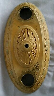 Antique Victorian Brass Ceiling Light Fixture Flush 2 Socket  Embossed Flowers
