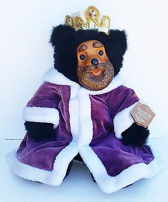 """Raikes Bear """"KING WILLIAM"""" w/tag crown purple robe Royal Court hand carved face"""