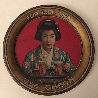 Vintage FANTASTIN C D KENNY CHEON TIN ADVERTISING TIP TRAY MINT ORIENTAL GIRL