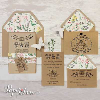 Rustic Wedding Invitations Save The Date Thank You RSVP Set Free Lined Envelopes