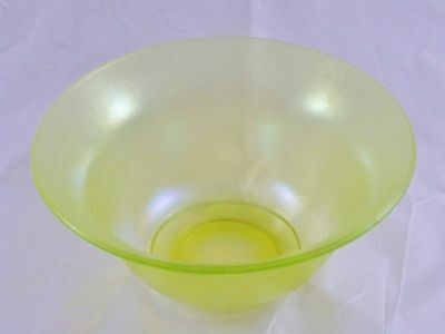 Imperial Stretch Glass Vaseline Large Flared Bowl