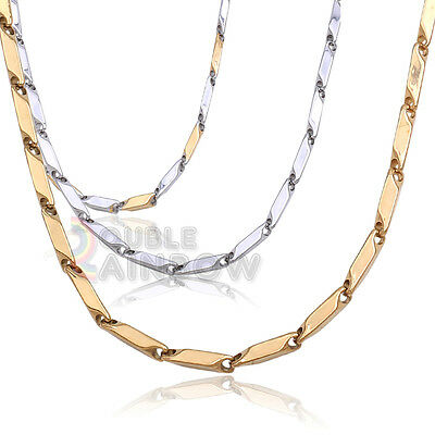 "C3 20-36"" Men's stainless steel Gold Silver 5mm Bullet Necklace Chain Link"