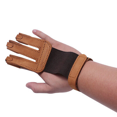 1X Brown Leather Archery Finger Guard Protective Finger Glove Tab Right Hand