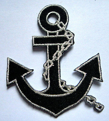 PRETTY CUTE BLACK SILVER ANCHOR Embroidered Iron on Patch + Free Shipping