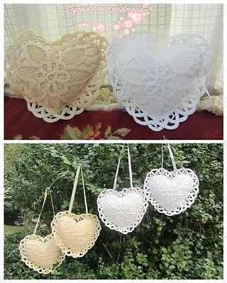 ONE Vintage Hanging Lace Heart with Stuffed Pillow/Sachet~Shabby Chic~Wedding~