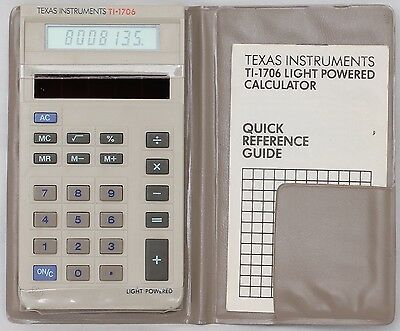 Texas Instruments TI-1706 Solar LCD Vintage Calculator *WORKING* [1983]