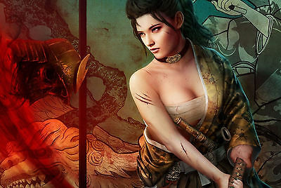Framed Print - Female Japanese Samurai Warrior with a Sword (Picture Poster Art)