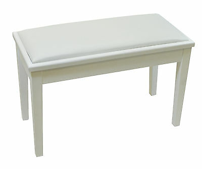 NJS Piano Electric Keyboard White Bench Stool With Storage Compartment 490mm