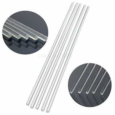 6PCS Dia 5mm Clear Round Perspex Acrylic Rod PMMA Circular Bar 25cm Length