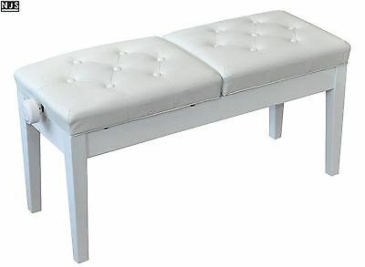 NJS Deluxe Adjustable Duet Faux Leather Two Seater Piano Stool Bench White