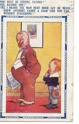 OLD post card  humor DRUNK FATHER and son conversation