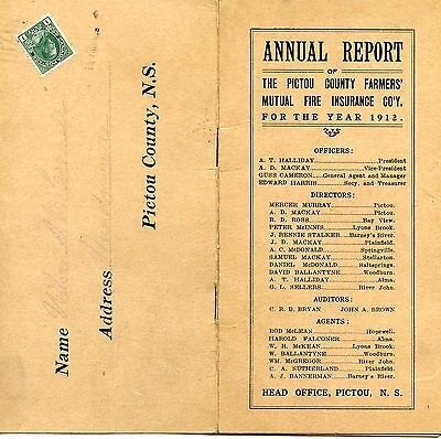 Old PICTOU COUNTY FARMERS' MUTUAL FIRE INSURANCE 1912 annual report booklet