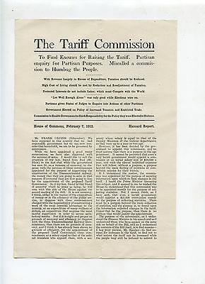 Old THE TARIFF COMMISSION pamphlet 1912 Hansard Report taxation
