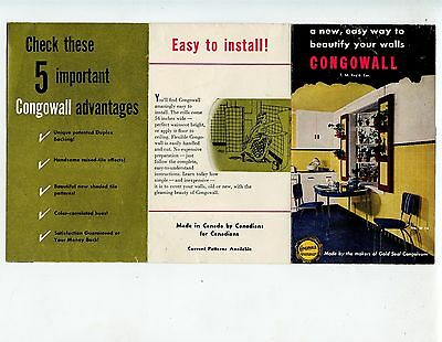 Old folding brochure CONGWALL wall covering Congoleum pamphlet faux tile