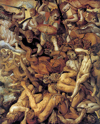 Biblical Art - Michael - Fall of the Rebellious Angels 8x10 Real Canvas Print
