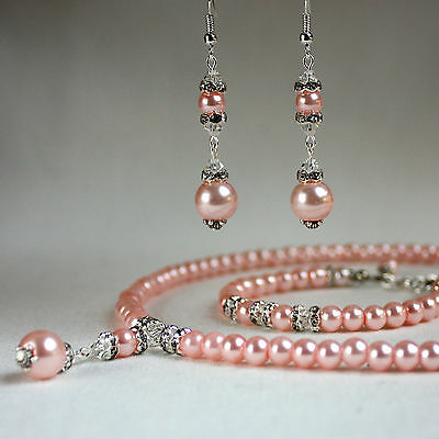 Baby pink pearl crystal collar necklace bracelet earrings wedding bridesmaid set