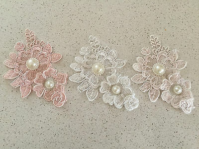 Lace Flower With Pearls  For Embellishments Or  invitation 8.3 x12.5cm