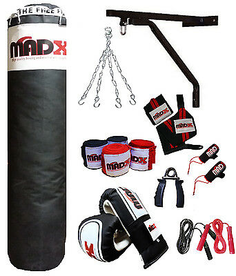 MADX 15 Piece 5ft Heavy Filled Boxing Punch Bag Set,Gloves,Bracket,Chains MMA