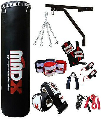 MADX 15 Piece 4ft Heavy Filled Boxing Punch Bag Set,Gloves,Bracket,Chains MMA