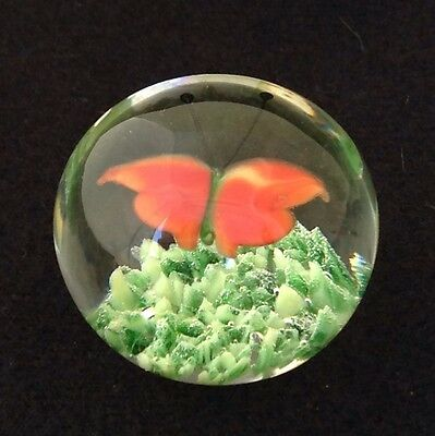 "Tiny Art Glass Paperweight, Orange Butterfly Over Green Ground, 1 1/2"" D, 3 Oz"