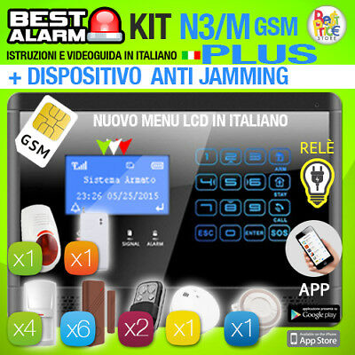 Antifurto Kit N3M Plus Allarme Casa Combinatore Gsm Pir Wireless  Antijamming