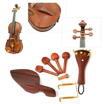 1 set Rosewood Violin Parts 4/4 Fittings Chinrest Pegs Tailpiece Tuners Endpin