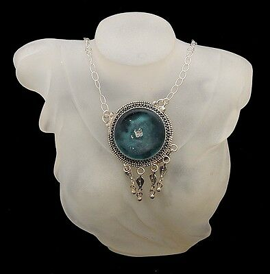 Roman Glass Pendant Necklace Sterling Silver 925 Hand Made With Certificate #3