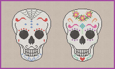 Simple Sugar Skull Pair Counted Cross Stitch Chart