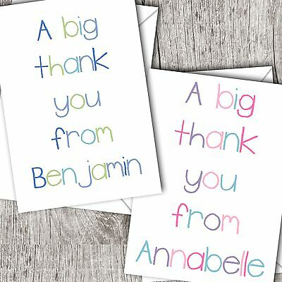 Personalised Girl/Children's/Kids ~ Folded THANK YOU Cards ~ Crayon