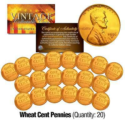 Lot of 20 Lincoln WHEAT Pennies US Coins 24K GOLD PLATED Lincoln Cent Penny