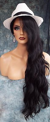 Lace Front Wig Long Rolling Alluring Sultry Waves Dark Color ☆1B Usa Seller 353