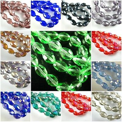 Pretty 100Pcs Faceted Glass Crystal Finding Spacer Loose Oval Rugby Beads 6x8mm