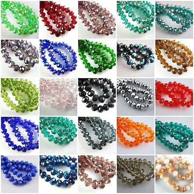 Pretty 200pcs 3x2mm Faceted Crystal Glass Rondelle Loose Spacer Beads 52colors