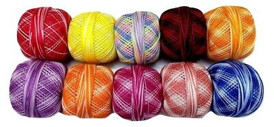 SET LOT 10 SHADED Colors - Cotton Yarn Thread Crochet Lace Knitting Embroidery