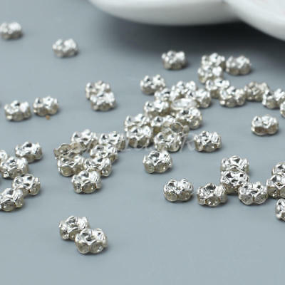 100pcs 6mm Crystal Rhinestone Rondelle Charm Spacer Beads for Jewelry Making DIY