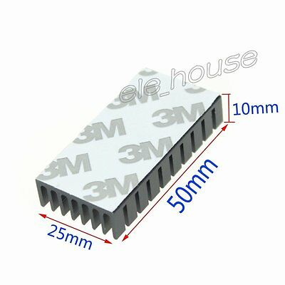50x25x10mm Adhesive Aluminum Heat Sink for PCB Device LM2596 2577 2587 Black
