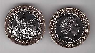 Falkland Islands - New Issue Bimetal Unc Coin 2 Pounds 2014 Year Ship Battle