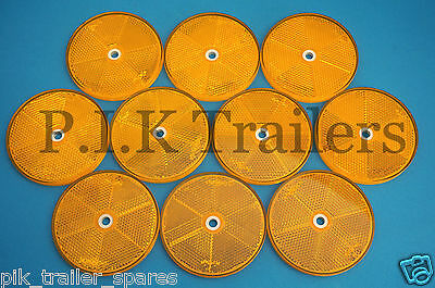 FREE P&P* 10 x XL 80mm AMBER Reflectors Driveway Gate Fence Posts & Trailers